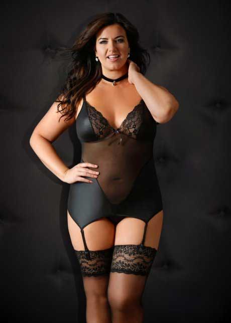 Ensemble semi-transparent de lingerie grande taille avec bas bord dentelle