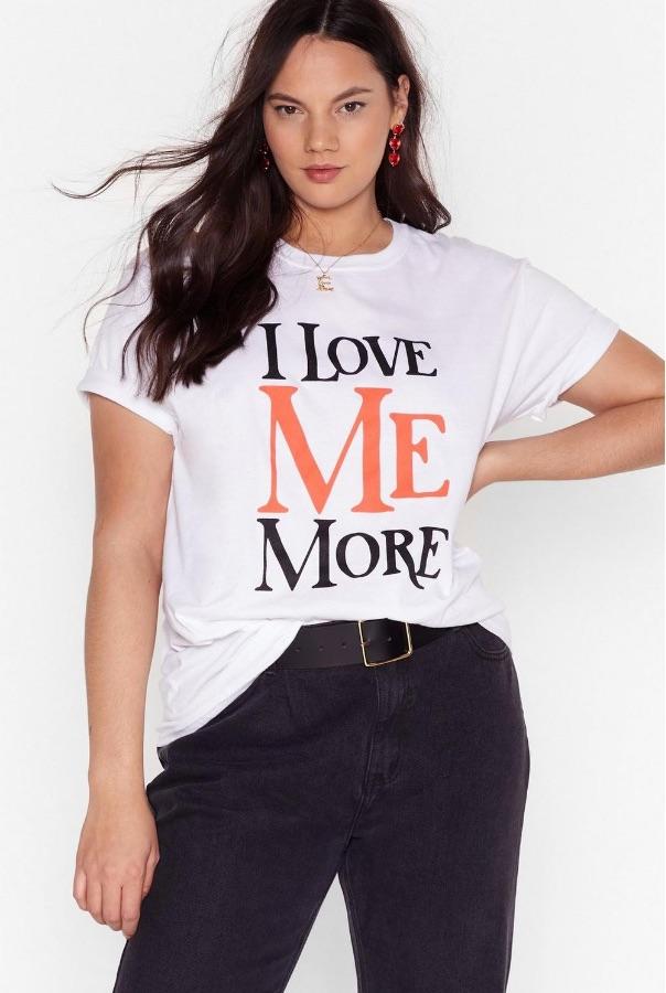 Je m'aime plus _ T-shirt grande taille à message