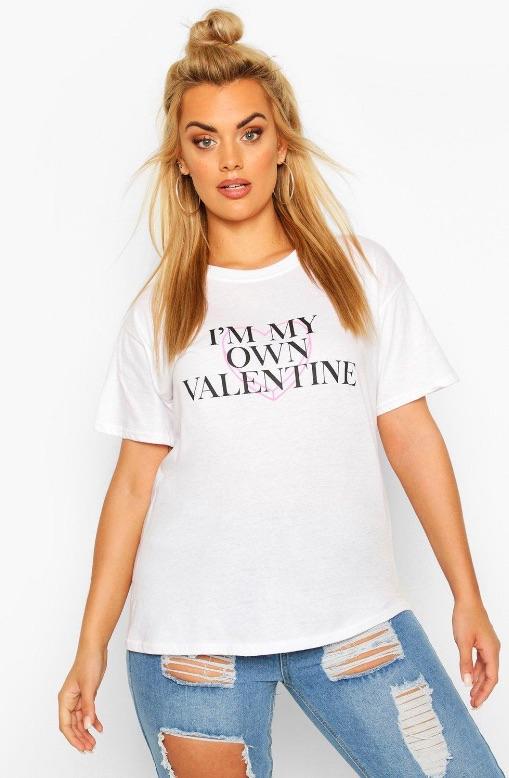 Je suis ma propre valentine - t.shirt grande taille à slogan positif