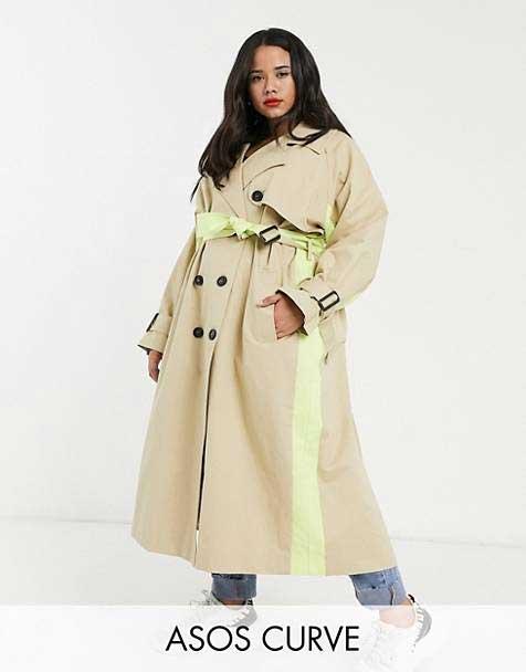 Trench coat long, vibrant à bandes fluo