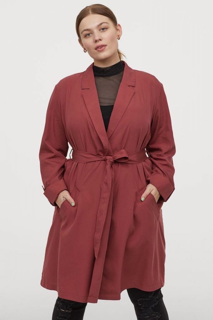 Trench couleur grande taille rouille